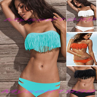 Bikinis bandeau bathing suits - 2014 FASHION WOMENS BRAZILIAN BANDEAU BIKINIS LADIES FRINGED SWIMWEAR BEACHWEAR sexy push up micro crochet monokini swimsuits bathing suit