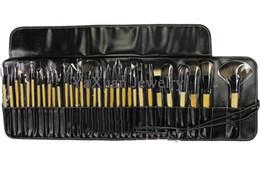 Wholesale 2014 hot Professional cosmetic make up makeup brushes set kits nylon fiber brush wood handle leather case