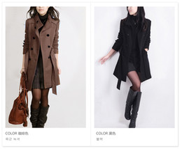 Wholesale 2014 new women autumn and winter dress trench coat slim plus size woolen outerwear medium long overcoat women s