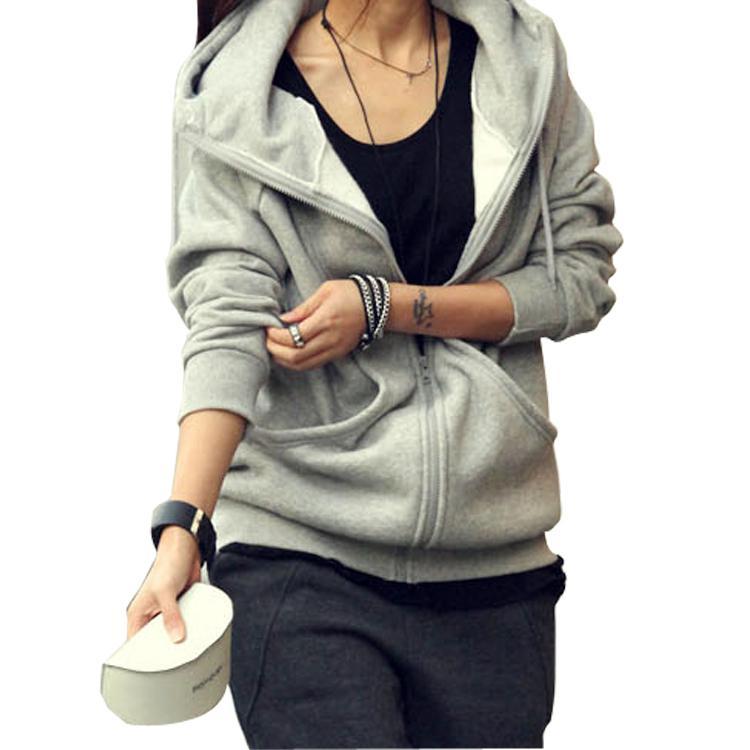Hot sale new warm hooded sweatshirt womens zip up hoodie long sleeve