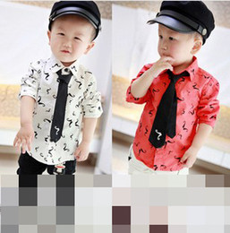 Wholesale New Spring White Red Children Kids Kid Boys Fashion Shirt Mustache Print Printed Long Sleeve Square Collar Shirts With Black Tie F0531