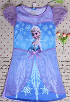 Wholesale 2014 children summer clothes girls girl Anna Elsa Frozen princess short sleeve dress summer dresses in stock