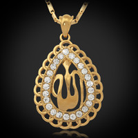 Wholesale New Islamic Allah Big Pendant Charms K Real Gold Plated Rhinestone Choker Necklace Religious Muslim Jewelry For Women MGC P248