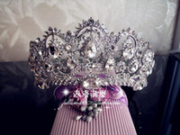 Wholesale New Stlye Hair Accessories Tiaras Large Noble European Big Crown Diamond Wedding Bride Mss Hair Beauty Cowns