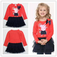 Cheap Free Shipping 18m-6y 2014 Baby Girls Fashion Cotton Dress Lovely Peppa Pig Dress With Flowers Printed Wholesale Clothing H4549#