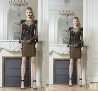 Reference Images Lace Sexy 2014 New Zuhair Murad Long Sleeve Lace Formal Evening Dresses Sequin Sheath Peplum Celebrity Cocktail Party Mother Gowns Free Shipping Cheap