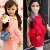 Wholesale Hot Sale Korean Kids Summer Dress Doll Collar Sleeveless Big Bowknot Butterfly Lace Layer Elegant Children Girls Party Dress Red Pink F0539