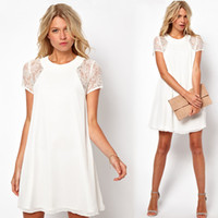 Wholesale 2015 Women Chiffon Dress Sexy Short Sleeve Lace Insert Loose One piece Shift Summer Dresses White G0424