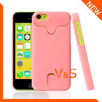 For Apple iPhone Plastic Case Fashion Hard Plastic ID Credit Card Holder Case cover for iphone 5c Free Shipping