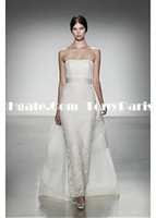 Trumpet/Mermaid Model Pictures Chiffon Graceful All-Over Lace & Satin & Stretch Satin Strapless Neckline Natural Waistline Sheath Wedding Dress
