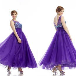 Wholesale 2014 Newest Plus Size Special Occasion Dresses Purple A Line Sheer Scoop Neck Ankle Length Crystal Beads Tulle Evening Prom Dresses