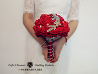 Wholesale 2014 delicate Diamond cm Pearl Wedding Bridal Bouquet Decorations Perfect Wedding Favors Hand Holding Flower Artificial Flowers Adornment