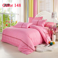 Wholesale Pink Bedding With White Dot Full Queen King size Bedding set Bedcover Home textile Cotton Bedding Sets Freely Bedclothes