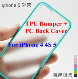 Hybrid Gummy PC   TPU Slim Protective Bumper Case Candy Soft TPU Bumper   Clear Hard Plastic PC Back Case Cover Skin for iPhone 4 4S 5 5G