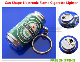 Free Shipping New Novelty Beer Can Keyrin MINI Zip-top Can Shape Electronic Flame Cigarette Lighter With Keychain Butance Gas Lovely Li