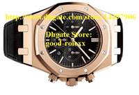 Wholesale New Style Mens Black Dial Rose Gold Chronograph Watch Men Complete Leather Quartz Watches Men s Sport Offshore Wristwatches