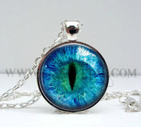 Wholesale Vintage glass domes Cat Eye Necklace Pendant Charms Art Picture Photo Blue and Black Handmade Jewelry