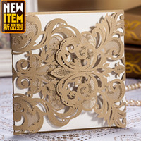 Wholesale Vintage Elaborate Flower Lace cutout Wedding Invitations Cards in Ivory Customized and Printing New CW3109
