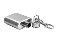Promotion alcohol cheap - Cheap Promotions Gift Portable oz Mini Stainless Steel Hip Flask Alcohol Flagon with Keychain Key Ring Chain Free Shippng With Tracking