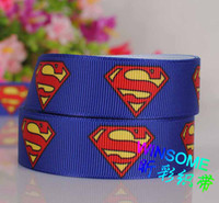 Wholesale 7 quot mm Superman logo printed ribbon DIY polyester grosgrain ribbon