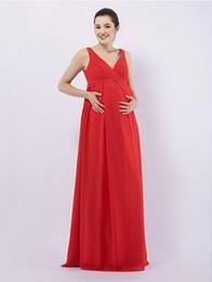 Ruby Draping Sheath  Column V-neck Floor-length Chiffon Over Elastic satin Maternity Bridesmaid  Wedding Party Dress
