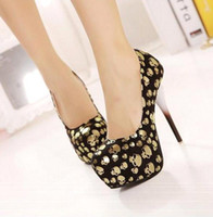 Wholesale Shoes woman s new gold Skeleton ghost head single cm high shoes with club high heels stiletto heel XZ080