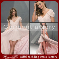 Wholesale 2014 Graduation Dresses V neck Short Sleeves Hi Low Blushing Pink Chiffon Miranda Kerr Prom Dresses