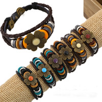 Wholesale New Fashion Charm Leather Bracelets with a flower decoration Women s Handmade four styles with jewelry new por