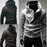 Wholesale Slim Fit Mens Black Cardigan - Hot Sale Mens High Collar Sweatshirts Hoodies Slim-Fit Diagonal Zipper Hoodies Cardigan Top Outwear M,L,XL,XXL,XXXL HAD0108