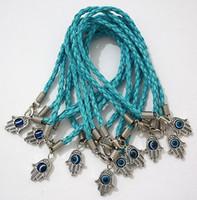 Wholesale 300PCS per Lucky Blue Resin Evil Eye Hamsa Hand Silk Cord String Evil Eye Bangle Bracelets