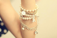 Wholesale 30sets Charming Multilayer Pearl Star Ctystal Coin plastic Beads Eiffel Tower Bangle Cuff Bracelet set women s