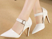 Wholesale Shoes Woman s hollow out high with the new tines buckles silver three color black and white stiletto heel XZ073