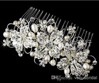 Wholesale Hot Shiny Elegant Top Quality Sparkle Crystal Pearl Rhinestone Wedding Bridal Combs Hair Combs Tiaras amp Hair Accessories