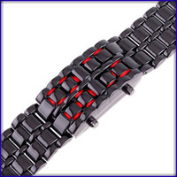 Fashion lovers' Water Resistant Free Shipping ! Hot Sell Men women watch classic Sports Watches New Men's Lava Style Iron Samurai LED Metal Watch 10pcs lot