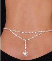 Wholesale Type Ladies Bikini Sexy Heart Crossover Harness Waist Belly Body Chain Necklace Fashion Jewelry