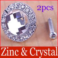 Ceramic Furniture Handle & Knob  New Round Clear Crystal Glass Pull Handle Cupboard Wardrobe Drawer Cabinet Knob