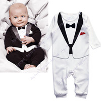 Boy Summer  Cotton Kids Baby Infant Boy's Gentleman Modelling Romper Children Long Sleeve Climb Clothes Outwear Clothes 19873