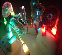 flat light - Colorful LED Visible Micro USB V8 Charger Cable for Samsung Galaxy S4 Note Data Smile Color Light Up Flash Flowing Flat Cord