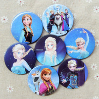 Multicolor Plastic Badge  Retail 2014 Frozen Cartoon Pin Badge 4.5cm Anna Elsa Princess Olaf Costume Cosplay Boys Girls Toy Fashion Badges 96pcs lot