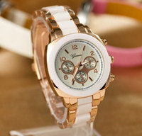 Fashion Unisex Not Specified Geneva Analog Stainless Steel Metal with Plastic band Womens Mens double color strip Dress Quartz Wrist Watch 6 color for choice 50PCS