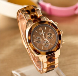 Wholesale Case For Folding Glasses - NEW GENEVA Stainless Steel Watch Analog Geneva Casual Watches 5 Colors Steel Case For Ladies LUXURY Quartz watches 100PCS DHL free