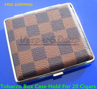Square   Free Shipping High Quality Lleather Cigarette Case Double Cigarette Case 20 Ultra-thin Metal Cigarette Box