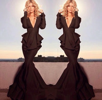 Reference Images V-Neck Satin Free Shipping Michael Costello 2014 New Glamorous Brown Long Sleeve Deep V Neck Keyhole Peplum Mermaid Evening Dresses Celebrity Dresses