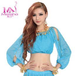 Wholesale Mesa tops qiu dong new coat belly dance chiffon blouse tribal dance lantern long sleeved shirt