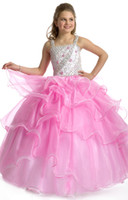 Reference Images Girl crystals 2014 Little Girls Cupcake Glitz Pageant Dresses Ball Gown Pink Crystal Beaded Ruffle Organza Short Pageant Dresses for Girls