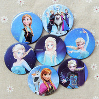 Multicolor Plastic Badge  EMS DHL 2400pcs 2014 Frozen Cartoon Pin Badge 4.5cm Anna Elsa Princess Olaf Costume Cosplay Boys Girls Toy Fashion Badges 96pcs lot