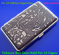 Rectangular   Free Shipping Exquisite Egyptian Pattern Stainless Steel Cigarette Case Silver Grey Hold For 14pcs 100mm Cigarettes