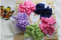 Wholesale Solid Purple Green Navy Pink Baby Children Kids Girl s Hair Accessories Barrettes Butterfly Bow Bowknot Winding Hair Clips Head Clip F0559