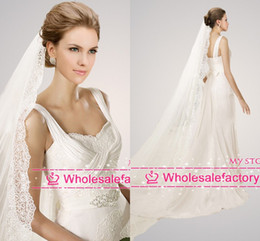 Wholesale 2014 Hot Sale Pure White Wedding Veil Meters One Layer Long Cathedral Train Bridal Veils with Lace Edge PR030