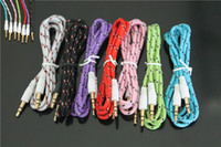 Wholesale Colorful Braided Fabric Jack to mm Male to Male Car Aux Audio Cable Headphone Mp3 Mp4